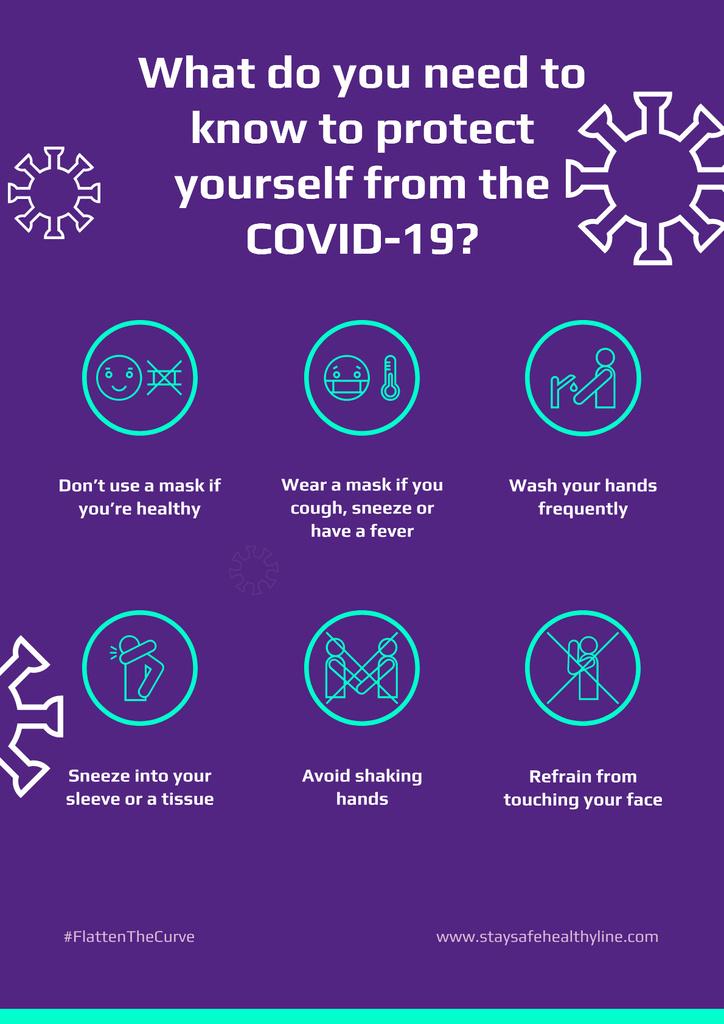 #FlattenTheCurve of Coronavirus with Protective measures instruction — Создать дизайн