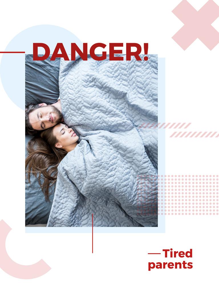Designvorlage Couple of parents sleeping in bed für Poster US