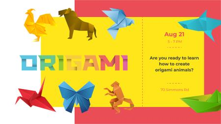 Origami Classes invitation with Animals Paper Figures FB event coverデザインテンプレート