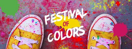 Indian Holi festival celebration Facebook cover Design Template