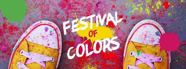 Indian Holi festival celebration Facebook cover – шаблон для дизайну