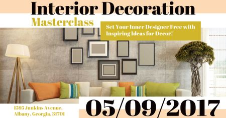 Interior decoration masterclass with Modern Room Facebook AD Design Template