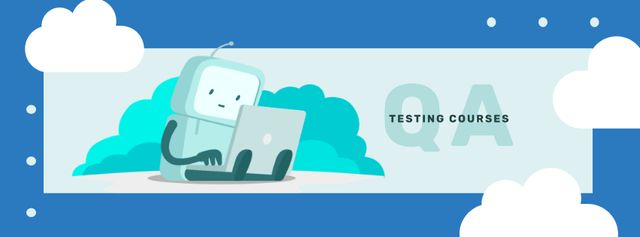 Robot working on laptop Facebook cover – шаблон для дизайна