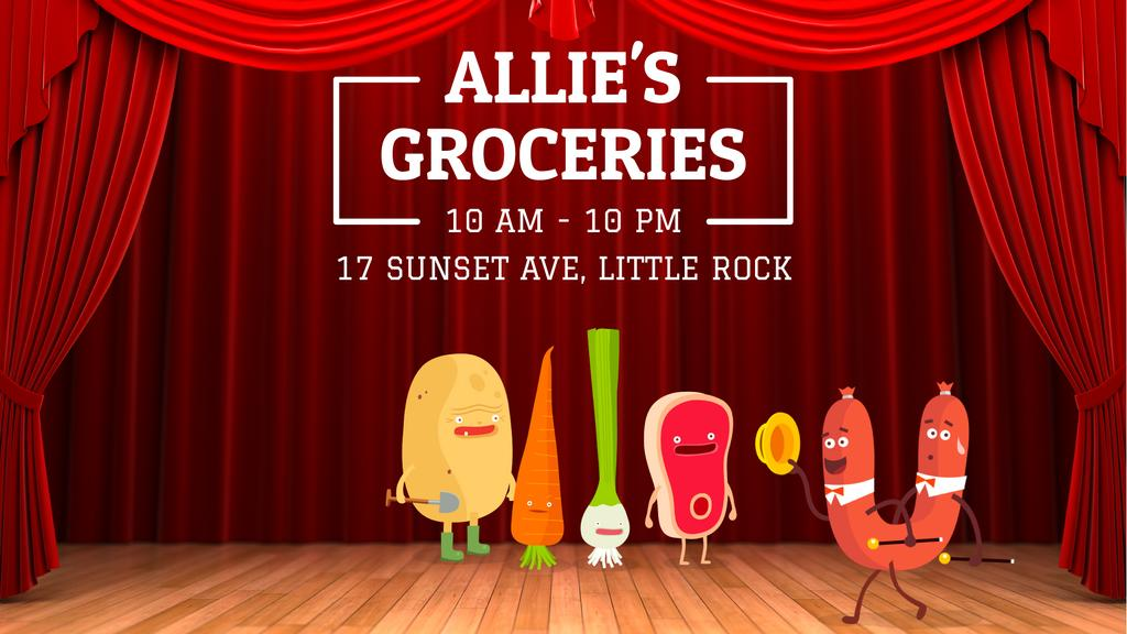 Groceries Shop Ad Funny Veggies and Sausage Characters — Créer un visuel