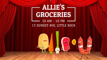Groceries Shop Ad Funny Veggies and Sausage Characters