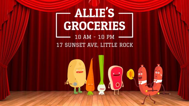 Plantilla de diseño de Groceries Shop Ad Funny Veggies and Sausage Characters Full HD video
