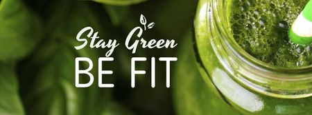 Modèle de visuel Green smoothie in glass jar - Facebook cover