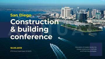 Building Conference Announcement Modern City View | Facebook Event Cover Template