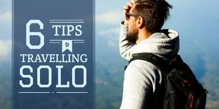 Travelling Tips with Backpacker Enjoying View Twitter Modelo de Design