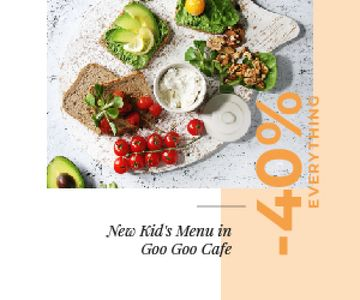 Kid's Menu Offer Healthy Food Set | Medium Rectangle Template