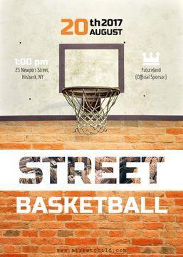 Basketball net on street court