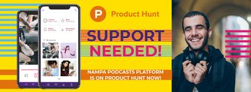 Product Hunt Campaign People Listening Music in Headphones | Facebook Cover Template