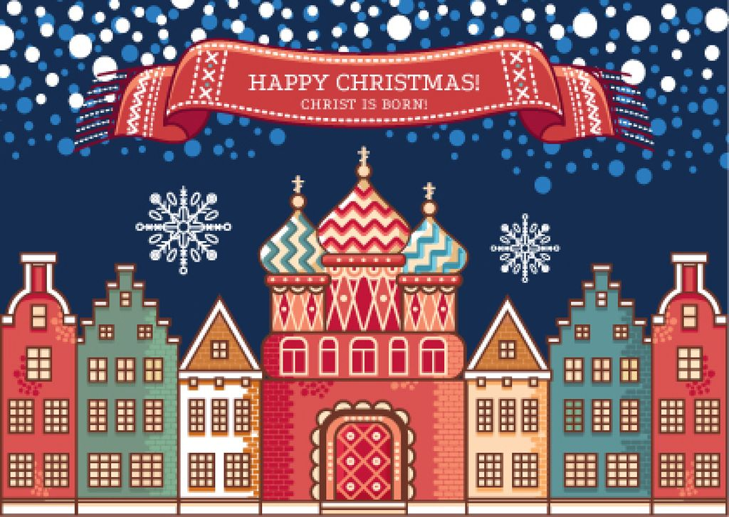 Happy Christmas Greeting with Snowy Night Town — Створити дизайн