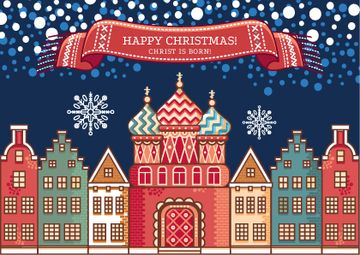 Happy Christmas Greeting Snowy Night Town | Postcard Template