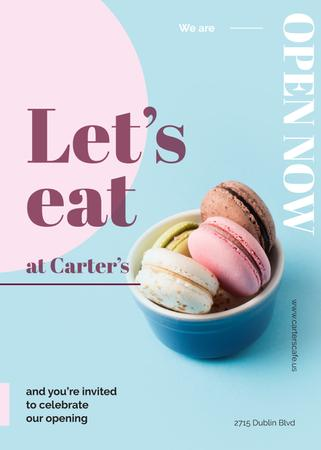 Ontwerpsjabloon van Invitation van Colorful macarons in bowl at Cafe