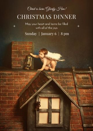 Plantilla de diseño de Christmas Dinner Invitation Little Child Angel Invitation