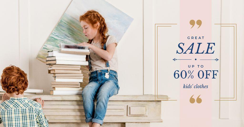 Kids with stack of books — Crear un diseño