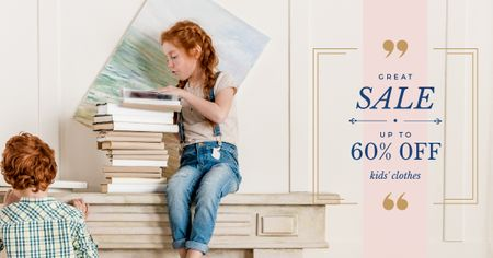 Kids with stack of books Facebook AD Design Template