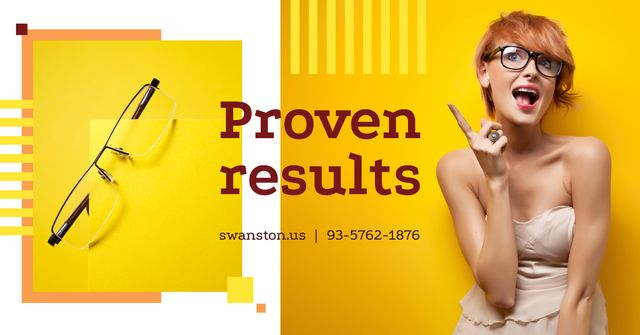 Optics Ad with Woman in Glasses Pointing in Yellow Facebook AD Modelo de Design