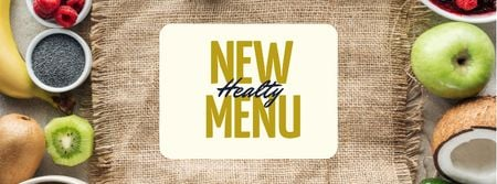 Modèle de visuel Healthy menu offer with fresh Fruits and Vegetables - Facebook cover