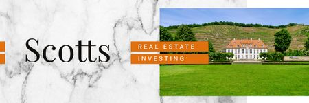 Plantilla de diseño de Real Estate Ad with Beautiful House in Country Landscape Email header