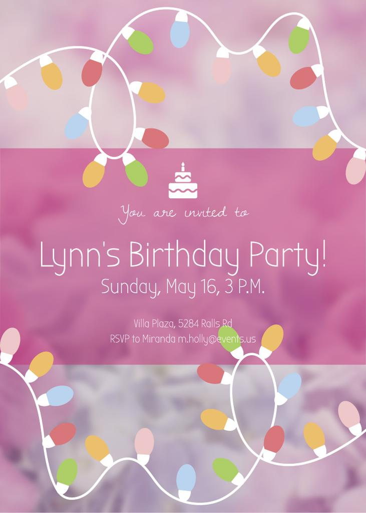 Birthday Party Invitation Card Flyer 5x7in Vorlage Online Designen