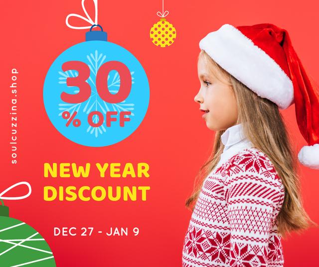 Modèle de visuel New Year Offer Child Girl in Santa Hat - Facebook