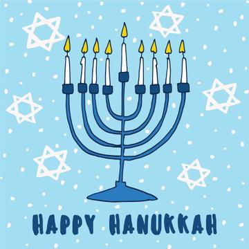 Happy Hanukkah Greeting with Stars of David pattern