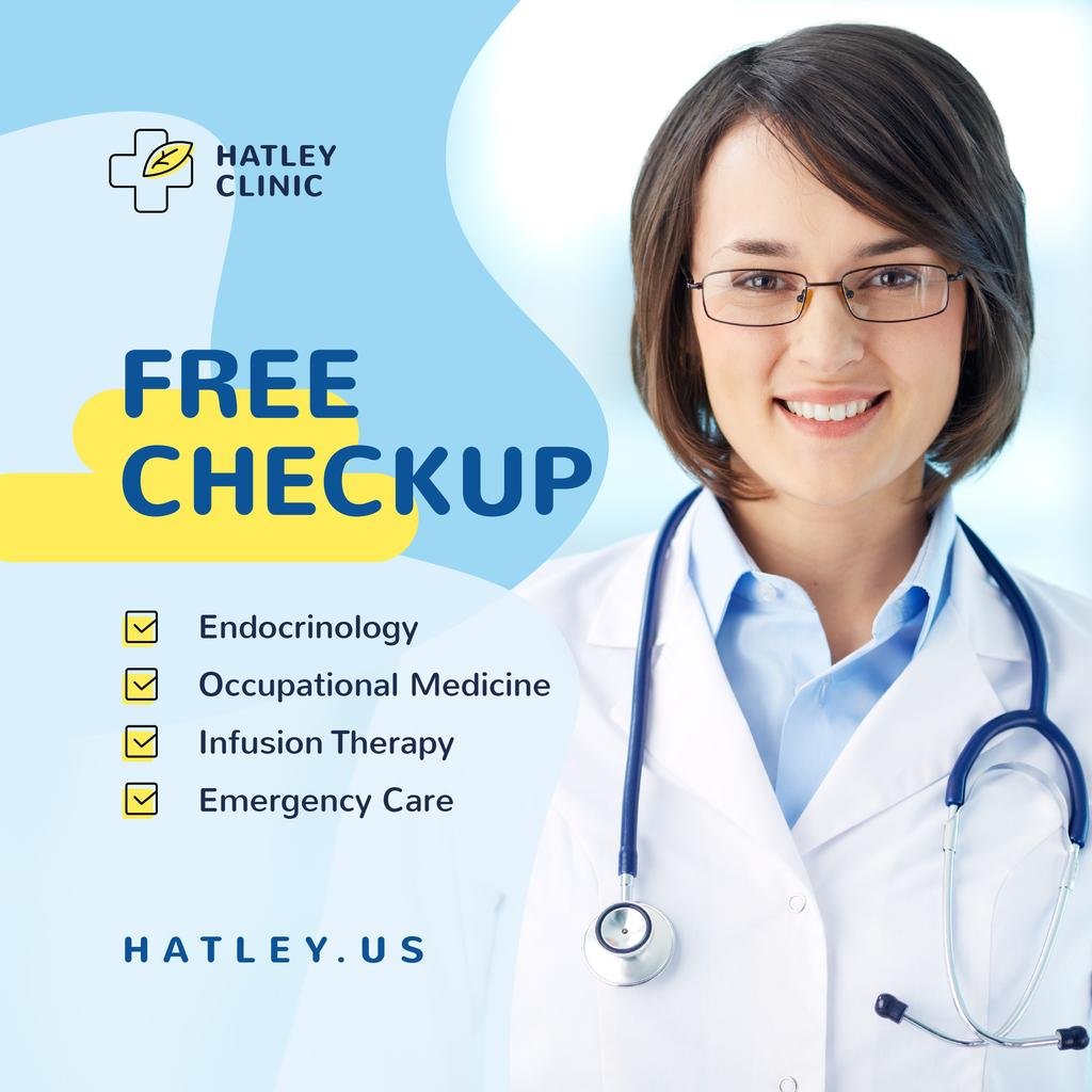 Checkup Invitation Smiling Female Doctor — ein Design erstellen
