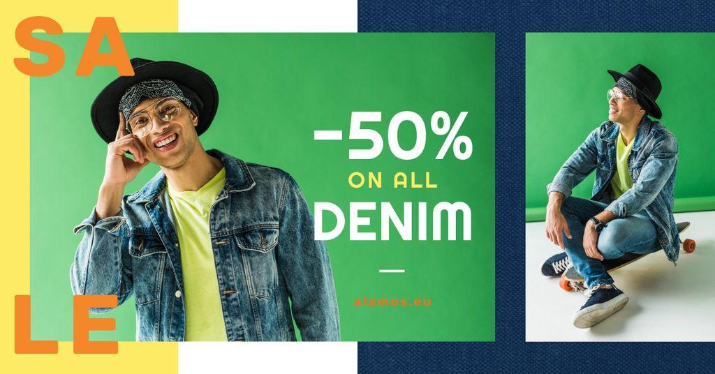 Denim Sale Stylish Man in Hat in Green | Facebook Ad Template — ein Design erstellen