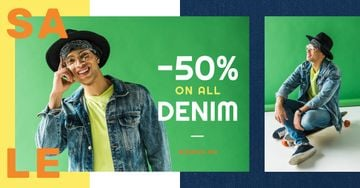 Denim Sale Stylish Man in Hat in Green | Facebook Ad Template