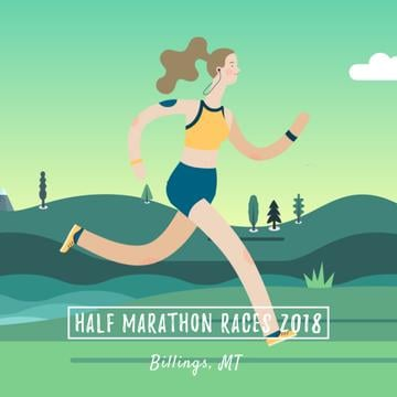 Marathon Announcement with Girl running outdoors