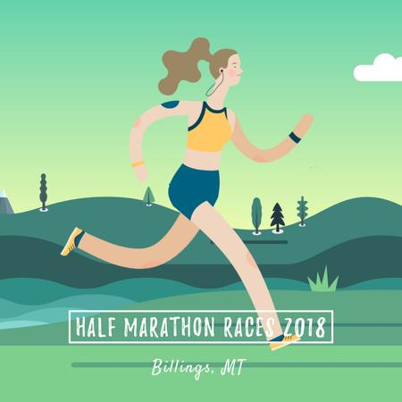 Plantilla de diseño de Marathon Announcement with Girl running outdoors Animated Post