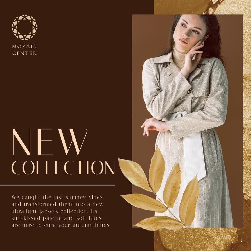 Fashion Collection Ad with Stylish Woman in Trench  — Create a Design