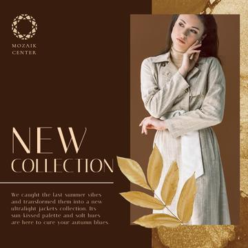 Fashion Collection Ad with Stylish Woman in Trench