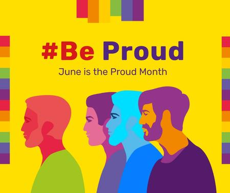 Designvorlage Diverse men rainbow silhouettes on Pride Month für Facebook