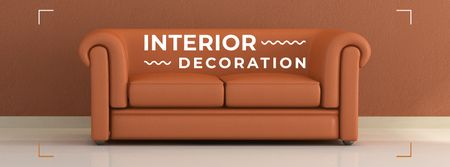 Designvorlage Interior decoration masterclass with Sofa in red für Facebook cover