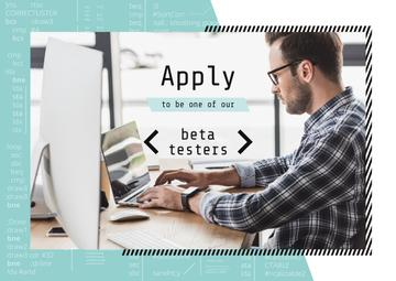 Beta Testers Search Announcement Man Typing on Laptop