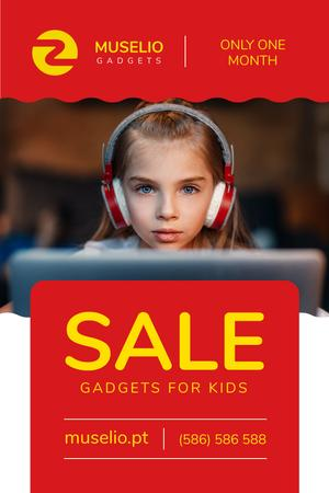 Plantilla de diseño de Gadgets Sale with Girl in Headphones in Red Pinterest