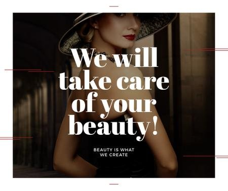 Beauty Services Ad with Fashionable Woman Facebook Tasarım Şablonu