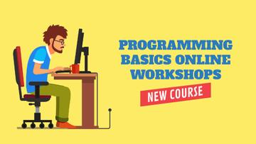 Programming Workshop Announcement Man Working on Computer