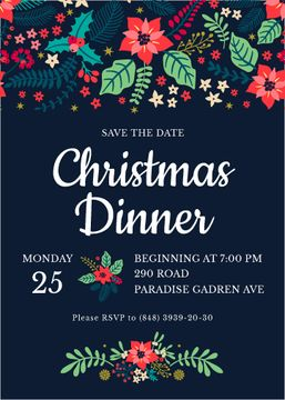 Christmas Dinner Invitation Red Poinsettia | Invitation Template