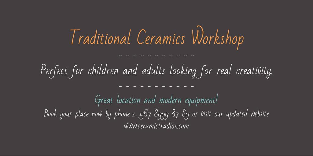 Traditional Ceramics Workshop Announcement — Crear un diseño