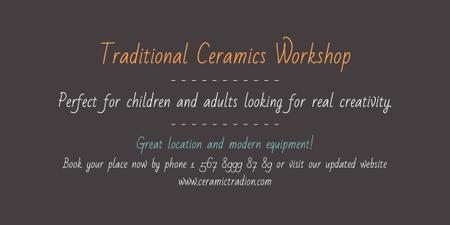 Traditional Ceramics Workshop Announcement Twitter Modelo de Design