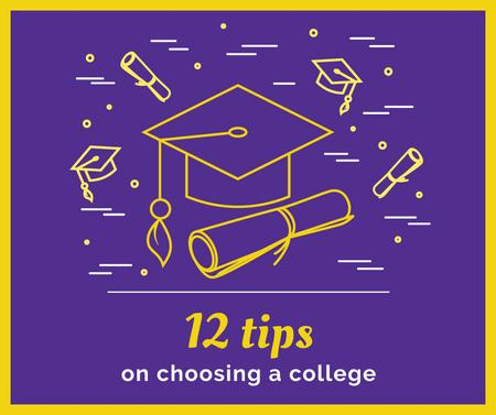 Template di design Choosing college tips with Graduation Cap Facebook
