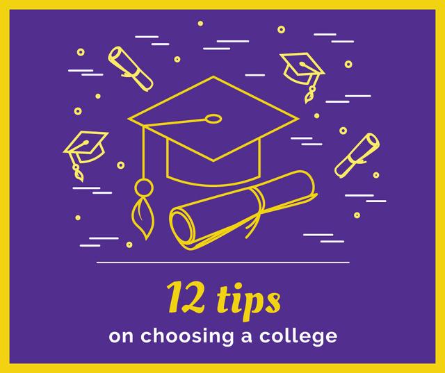 Choosing college tips with Graduation Cap Facebook Modelo de Design