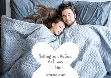 Luxury silk linen website with Couple resting in bed