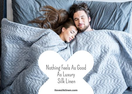 Luxury silk linen website with Couple resting in bed Postcard Tasarım Şablonu