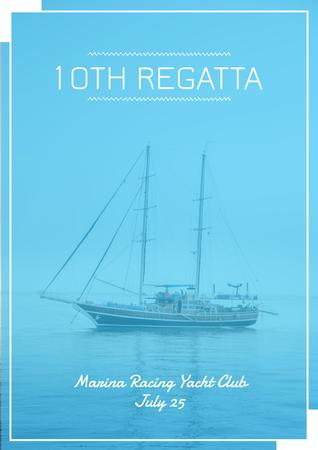 Template di design Ship in Foggy Sea Poster