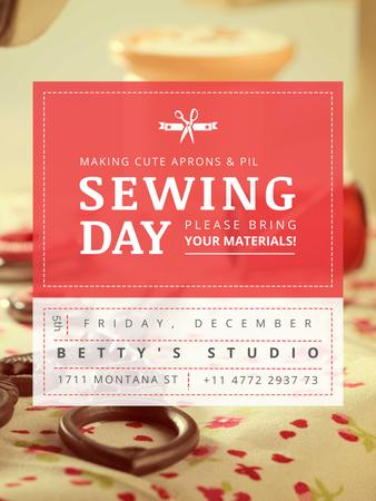 Plantilla de diseño de Sewing day event with needlework tools Poster US